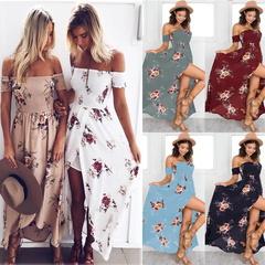 2019 New Women Sexy Side Split Summer Off Shoulder Vintage Print Maxi Dress Women Beach Dresses s blue