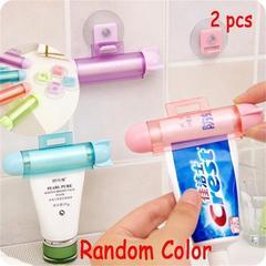 2pcs/set ABS Cute Rolling Squeezer Toothpaste Dispenser Tube Partner Hanging Holder