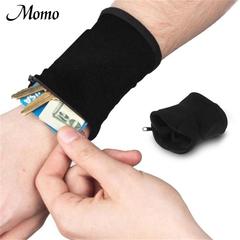 Good Wrist Wallet Pouch Band Fleece Zipper Running Travel Gym Cycling Safe Sport black one size