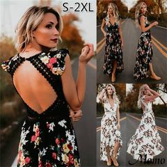 Women Fashion Irregular Boho Summer Floral Print V-Neck Hem Dresses Holiday Bohemia Long S-XL black s