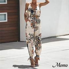 Summer Casual Women Sleeveless Deep V-Neck Backless Jumpsuits Spaghetti Strap Rompers white s