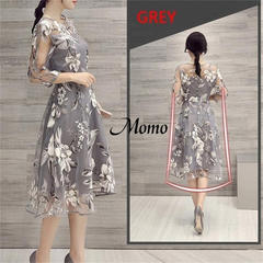MOMO Women Fashion Dresses Neck Lace Double Prom Party Beach grey s