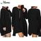 Round neck long sleeve pocket dress women's long sleeve dress xxxl black