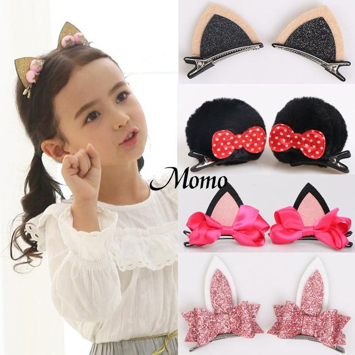 2pcs/Set Cute Hair Clips for Girls Glitter Felt Fabric Flowers Hairpins Ears Kids Hair Accessories 1