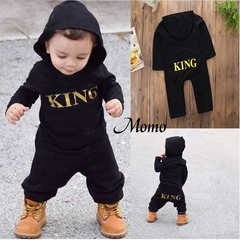 Fashion Letter Printed Outfit Kid Baby Boy King Infant Romper Jumpsuit Bodysuit Hooded Clothes black 0-6Months