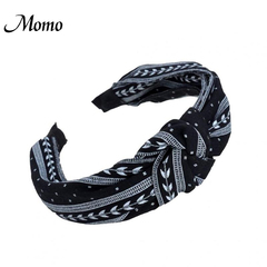 Women Fashion Elegant Cloth Knotting Fashion Leaves Wide Hairband Headband Hair Accessories black one size