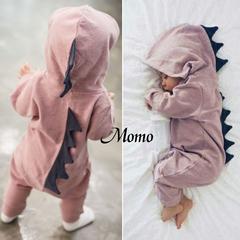 Spring and Autumn Warm Baby Girls Boys Romper Cotton Baby Jumpsuit Hoodies Children Dinosaur Costu pink 0-6m