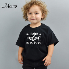Personalized Kid Shirt Baby Shark Do Do Do Unisex Funny Trendy Short Sleeve boys girls Shirt Momma black 0-1Y cotton