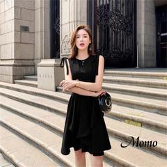 2019 summer new red dresses female Hepburn small black dresses sleeveless waist slim strap dress s black