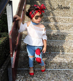 Boutique Toddler Kids Girls Lace Tops Shirt Flower Jeans Denim Pants Outfits Set Clothes white &blue 90cm 2-3 Years