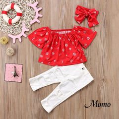 Toddler Kids Baby Girls Red Off Shoulder Tops +Hole Pants/Headwear 3PCS Outfits red 2-3 years