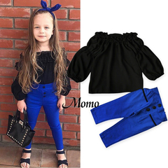 Autumn Newborn Baby Kids Girl Off Shoulder Outfit Clothes Tops + Leggings Pants black&blue 90cm 2-3 years