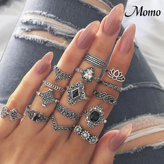 15Pcs Bohemia Flowers Crystal Crown Finger Ring Set 925 Sterling Silver Joint Knuckle Rings 1pcs sliver