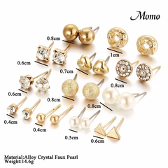 Classic Women's Round Ball Pearl Earrings For Girl Gifts Crystal Sets Mix Jewelry(12/20/30 pairs) sliver 30pcs set 1