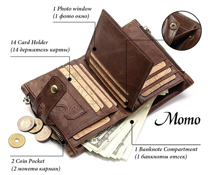 Genuine Cow Leather Vintage Men Wallet Fashion Zipper High Quality Male Card ID Holder 2018 coffee 1 one