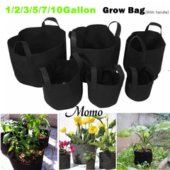 6 size Black Round Fabric Pots Plant Pouch Root Container Grow Bag Aeration Pot Container -XCY black&white (random) 1 gallon
