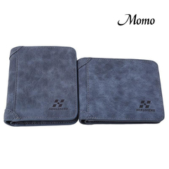 New Men PU Leather ID credit Card holder Clutch Bifold Coin Purse Wallet Pockets blue one