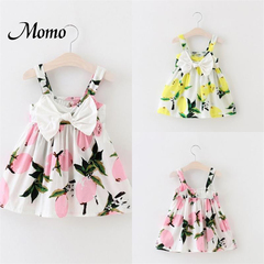 Pretty Baby Infant Girls Floral Bowknot Summer Lemon Dress Sundress Clothes 0-3T pink 2-3 years