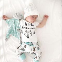 Newborn Baby Boy Girls Short Sleeve Fox T-shirt+Pants 2pcs Outfits Clothes Set white 0-3m