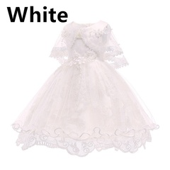 Girls Fashion Breathable Bow Tie Lace Sleeveless Mesh Princess Dress Girls Casual 4 Colors Size white 110 yards