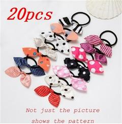 20pcs woman girl point pattern elastic hair band headdress bow rabbit ears hair band color random