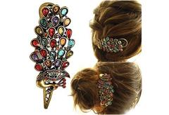 Lady Multi-Color Rhinestone Peacock Design Hair Clamp Clip