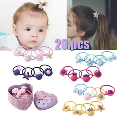 20pcs Cartoon Cute Elastic Hair Bands Kids Girls Rubber Bands w/ Gift Box