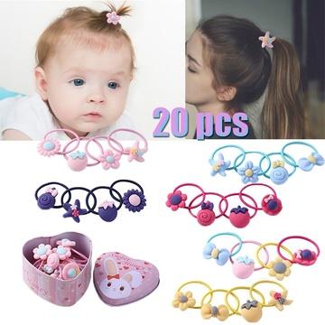 20pcs Cartoon Cute Elastic Hair Bands Kids Girls Rubber Bands w// Gift Box