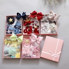 Fashion Cute Kids Girls Hair Clips Set Cartoon Crown Cloth Ribbon Hairpins Hair Accessories Gifts