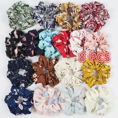 8Pcs Women's Chiffon Flower Hair Scrunchies for Girls Floral Print Elastic Hair Bands