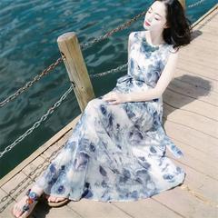 Women's fashionable flower dress milk silk elastic short sleeve high waist dress 2xl (60-65kg) m (45-50kg) 001