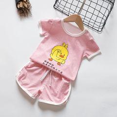 Children's cotton short-sleeved suit female baby T-shirt shorts two-piece summer boy sports suit 1 73cm