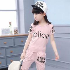 Children's clothing girls summer suit 2019 new Korean children's sports two-piece summer 1 110
