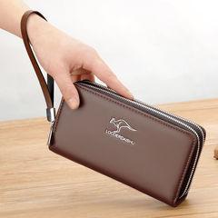 New men's long wallet Korean casual clutch bag zipper soft wallet youth boy wallet phone bag coffee 1 one