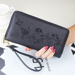 Oil wax skin women's long wallet 2019 hot mobile phone bag female Europe and America large black1 one