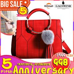 GAGNWENR Casual Leather Women's  Handbags Ladies Shopping Bag Shoulder Bags one size red 9(in)*4(in)*6(in)