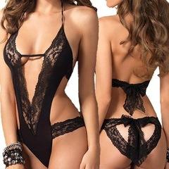 New Sexy Lingerie Hot Black Lace Spliced Erotic Lingerie Costumes Temptation Transparent Sleepwear black free size