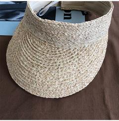 ladies uv roll up korean sun visor hat women sun visor straw raffia sun visor caps straw visor beige