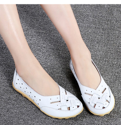 Flats For Women Comrfort Genuine Leather Flat Shoes Woman  Loafers Ballet Shoes Female Moccasins light blue 36