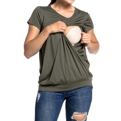 Summer Maternity Nursing Tops Polyester Breastfeeding Solid Simple Clothes Easy To Feed Baby army green S
