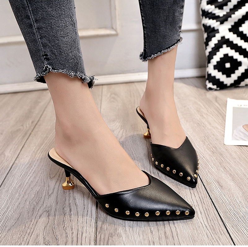 15d4f08036a Women Summer Slippers High Heels Ladies Rivets Pointed Toe Strange Style  Outside Shoes For Girls black 35  Product No  11947513. Item specifics   Brand
