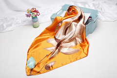 2019 Women Fashion Silk Scarf Floral Printed Luxury Flower 90*90 Silk Scarves Shawl Wraps Yellow