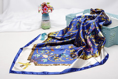 2019 Lady 90cm New Arrival Big Size Women Floral Bird Printed Silk Scarf Gold Shawls Wraps Scarves Blue