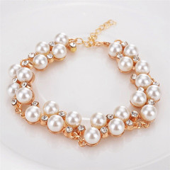 Women New Bracelet Women Jewellery Rhinestone Imitation Pearl Cool Quality Ladies Accessories pearl white one size