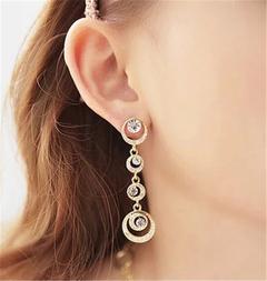 Women Earrings Circle Shaped Women Jewellery  Rhinestone Crystal Pendant Ladies Accessories gold one size