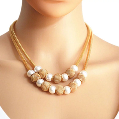 Women Necklace Concise Women Jewellery Double Layer Imitation Pearls Ladies Accessories gold and rearl  white one size