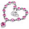 New Trendy Women Bracelet Heart Shaped Crystal Women Jewellery Fashion Rhinestone Ladies Accessories silver+pink one size