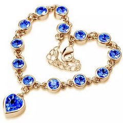 New Trendy Women Bracelet Heart Shaped Crystal Women Jewellery Fashion Rhinestone Ladies Accessories gold and blue one size