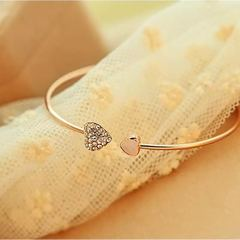 Women Open Hook Bracelet Crystal Heart Women Jewelry Bangles Adjustable Ladies Accessories 2019 gold one size
