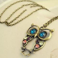 New Women Fashion Necklace Crystal Blue Eyed Owl Women Jewelry Long Chain Pendant Ladies Accessories one color as picture one size